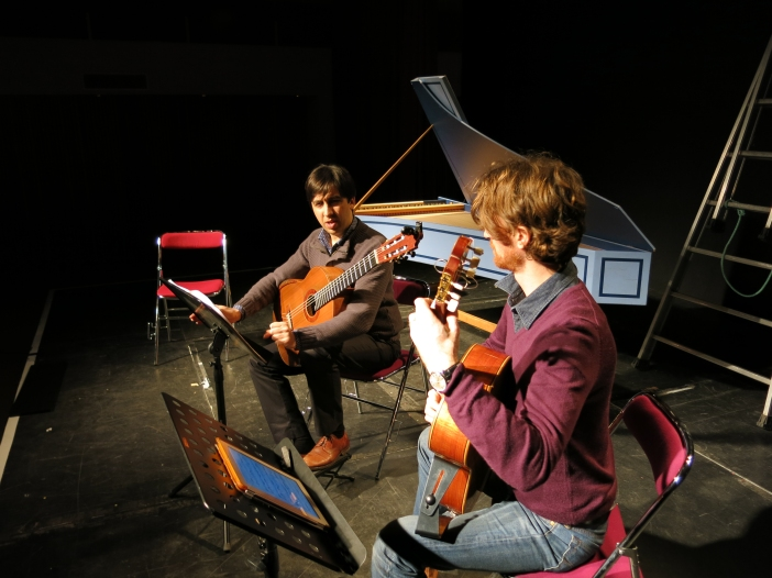 Le Duo Mélisande en répétition avant la soirée Open Bach, le 18-01-2014